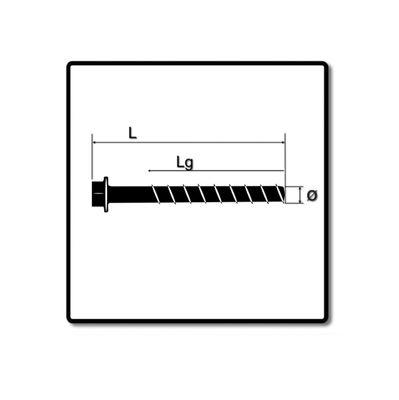 Fischer ULTRACUT FBS II Betonschraube 10x100 mm 200 Stk. ( 2x 548743 ) Sechskantkopf SW15 Unterlegscheibe galvanisiert verzinkt + Makita NEMESIS 2 Hammer und Beton Bohrer SDS-Plus 10x215 ( B-58213 ) – Bild 3