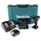 Makita DHP 483 ST1B Akku Schlagbohrschrauber 18V 40Nm Schwarz im Koffer + 38tlg. Bit-Bohrer-Set + 1x 5,0Ah Akku + Ladegerät