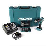 Makita DHP 483 ST1 Akku Schlagbohrschrauber 18V 40Nm im Transportkoffer + 1x 5,0 Ah Akku + Ladegerät + 38 tlg. Bit- & Bohrer Set