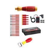 Wiha speedE® elektronischer Schraubendreher - Set 3 - 25-teilig mit 2x 1,5 Ah Akku, Ladegerät ,Bits, TorqueAdapter (41913) + Wiha Flaschenöffner (9872)