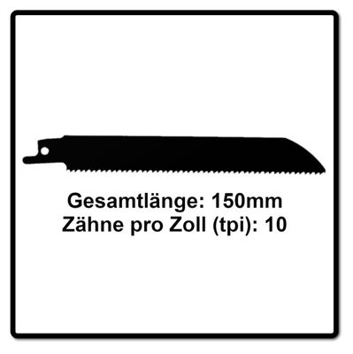 Komet Säbelsägeblatt METAL AND WOOD 150mm 10tpi 25 Stk. ( 5x 501.007 ) HSS-Bi-Metall – Bild 3