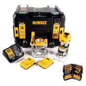 DeWalt DCW 604 D2 Akku Kombifräse 18V 55 mm + 2x Akkus 2,0 Ah + 1x Schnellladegerät + Fräser Set 12 tlg in TSTAK