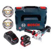 Bosch GWX 18V-10 C Akku Winkelschleifer 18V 125mm brushless X-LOCK + 2x Akku 3,0Ah + Ladegerät + 2x Diamant Trennscheiben X-LOCK 125x22,23mm + L-BOXX