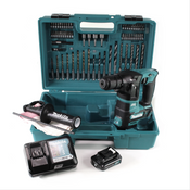 Makita HR 166 DWA1E1 Akku Bohrhammer 10.8V SDS-Plus Brushless + Koffer + 64-tlg. Zubehörset + 1x Akku 2,0Ah + 1x Ladegerät