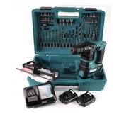 Makita HR 166 DWA2E1 Akku Bohrhammer 10.8V SDS-Plus Brushless + Koffer + 64-tlg. Zubehörset + 2x Akku 2,0Ah + 1x Ladegerät