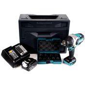 "Makita DTW 1002 STX 18 V Akku Schlagschrauber Brushless 1/2"" + 9tlg. Steckschlüssel Nuss Set  + 1x Akku 5,0Ah + Ladegerät + Makbox"