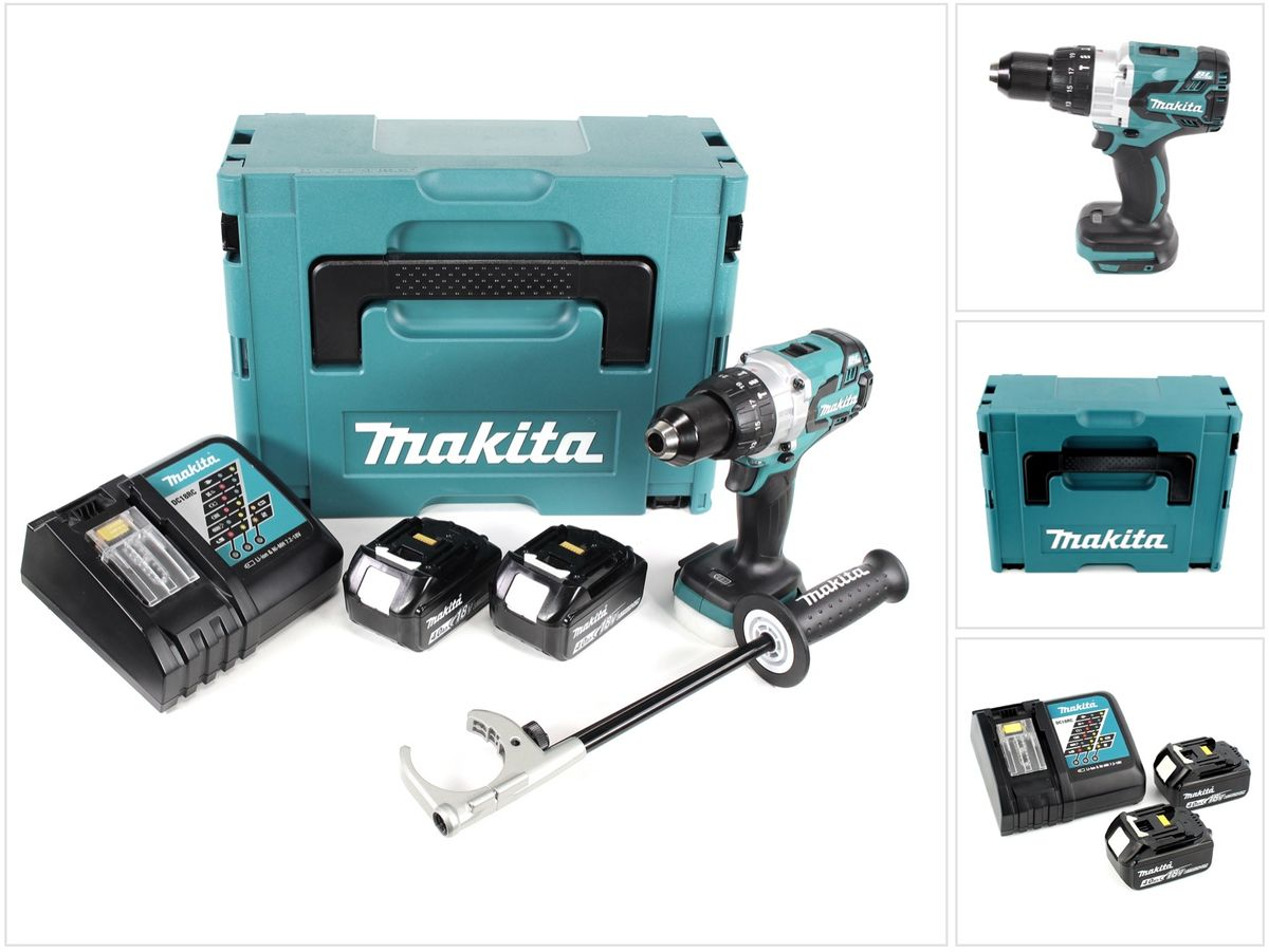 makita dhp 481 rmj 18v schlagbohrschrauber brushless makpac 2x 4ah akku lader ebay. Black Bedroom Furniture Sets. Home Design Ideas