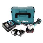 Makita DGA 504 RMJ 18 V Meuleuse sans fil Ø 125 mm avec boîtier MAKPAC + 2x Batteries BL 1840 4,0 Ah + Chargeur DC18RC