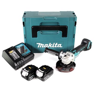 Makita DGA 504 RFJ 18 V Li-Ion Akku Winkelschleifer 125 mm Brushless im Makpac + 2 x 3,0 Ah Akku + Ladegerät – Bild 2