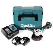 Makita DGA 504 RFJ 18 V Meuleuse sans fil Ø 125 mm avec boîtier MAKPAC + 2x Batteries BL 1830 3,0 Ah + Chargeur DC18RC