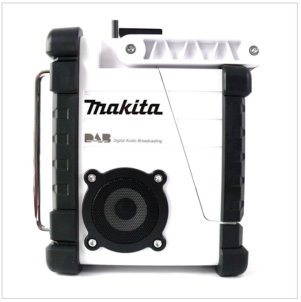 makita dmr 104 w akku baustellen radio wei solo ohne akkus und ladeger t elektrowerkzeug. Black Bedroom Furniture Sets. Home Design Ideas