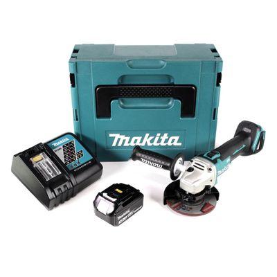Makita DGA 504 RF1J 18 V 125 mm brushless Akku Winkelschleifer im MAKPAC inkl. 1x BL 1830 B Akku + DC18RC Ladegerät – Bild 2