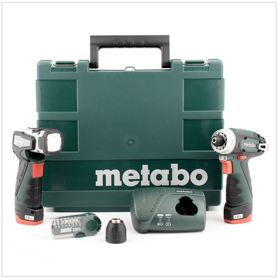 Metabo Power Maxx BS 10,8 V Perceuse-visseuse Basic Set + 2x Batteries 2,0 Ah + 1x Lampe + Chargeur en Coffret 6.00080.53 – Bild 2