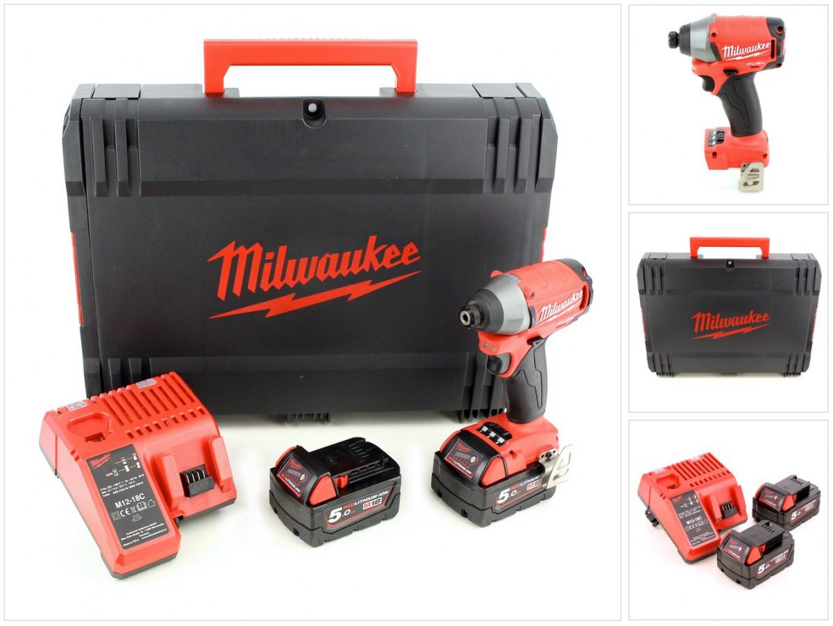 Milwaukee m18 cid 502 x 18 v akku schlagschrauber mit 2x 5 ah akku