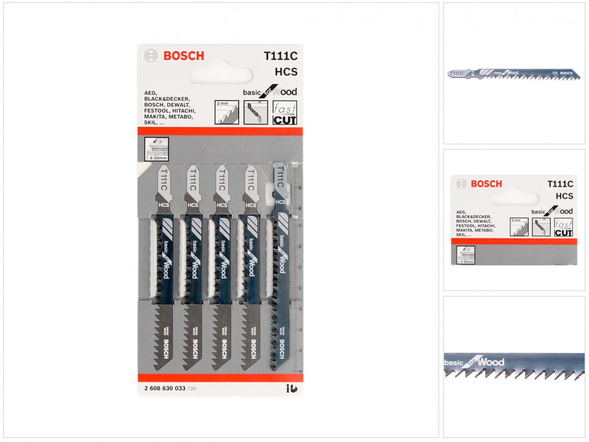 bosch 5 stichsägeblätter basic for wood t 111 c ( 2608630033
