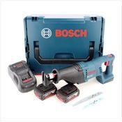 Bosch GSA 18 V-LI Professional 18 V Scie sabre sans fil avec boîtier L-Boxx + 2x Batteries GBA 6 Ah + Chargeur rapide GAL 1880