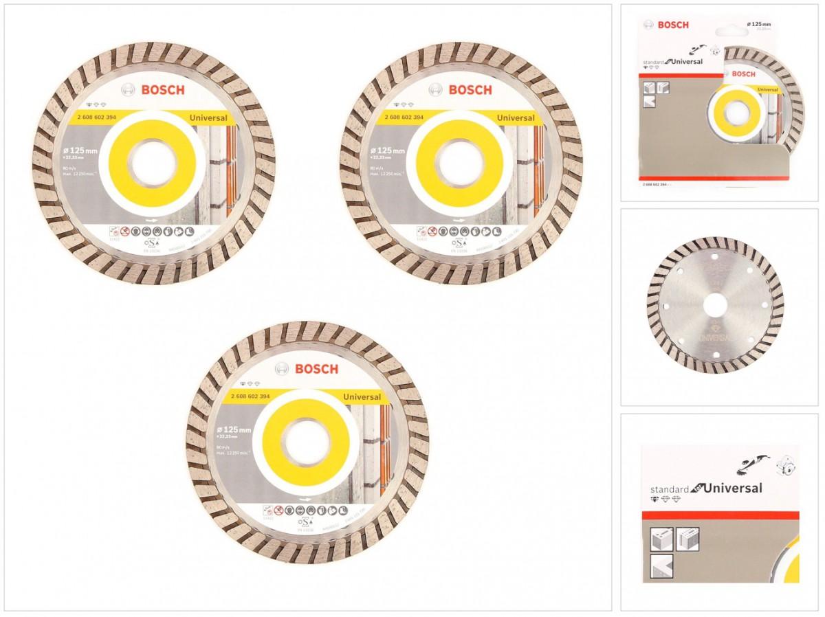bosch diamant trennscheibe 3er set 125 x 22 23 standard for universal turbo 2608602394. Black Bedroom Furniture Sets. Home Design Ideas