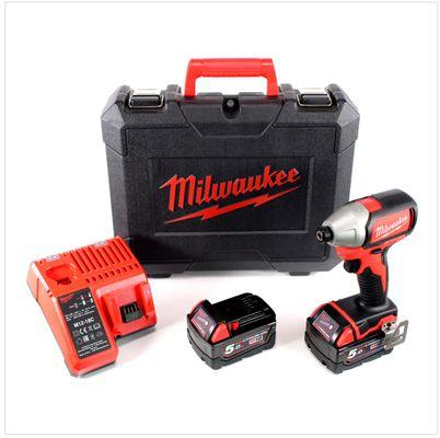 Milwaukee M18 BLID 502 C 18 V Brushless Akku - Schlagschrauber + 2x 5.0 Ah Red Li-Ion Akku + Milwaukee M12-18C Universal Akku Ladegerät + Koffer – Bild 2