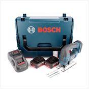 Bosch GST 18 V-Li B Professional Scie sauteuse sans fil avec boîtier L-Boxx + 2x Batteries GBA 5,0 Ah + Chargeur rapide GAL 1880 CV