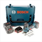 Bosch GST 18 V-Li S Professional Scie sauteuse sans fil + Coffret de transport L-Boxx + 2x Batteries GBA 5,0 Ah + Chargeur + Set d'accessoires