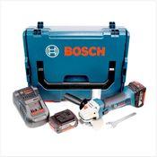 Bosch GWS 18-125 V-LI 125 mm Professional Meuleuse angulaire sans fil avec boîtier L-Boxx + 2x Batteries GBA 5,0 Ah + Chargeur
