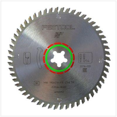 Festool Spezial Kreissägeblatt HW 190 x 2,6 FF Fast Fix TF54 190 mm 54 Zähne ( 492052 ) – Bild 2