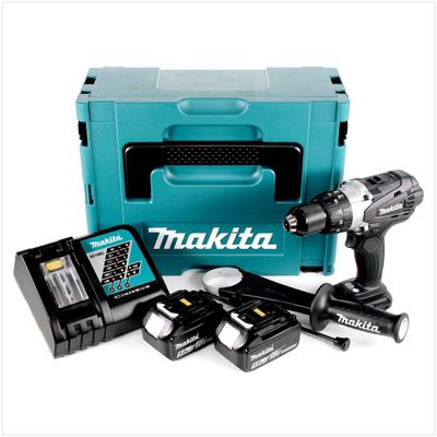Makita DHP 458 RTJB 18V Li-ion Perceuse visseuse à percussion sans fil 18 V Noir Brushless en Coffret MAKPAC + 2 x Batteries BL 1850 5 Ah + Chargeur DC 18 RC – Bild 2