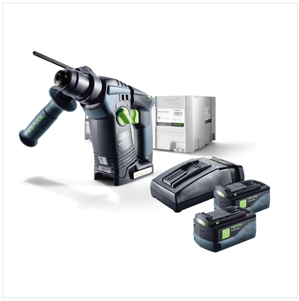 festool bhc 18 li plus akku bohrhammer sds plus im systainer mit 2x bp 5 2 ah akkupack und tcl 6. Black Bedroom Furniture Sets. Home Design Ideas