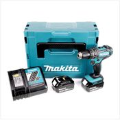 Makita DHP 482 RMJ - 18 V Li-Ion Perceuse visseuse à percussion sans fil avec coffret Makpac + 2x Batteries BL 1840 4,0 Ah + Chargeur DC 18 RC