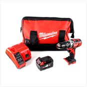 Milwaukee M18 BPD 18 V Perceuse visseuse à percussion sans fil avec Sac de transport + 1x Batterie M18 B4 4.0 Ah 18 V Red Li-Ion + Chargeur universel M12 - 18C