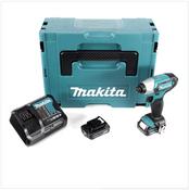 Makita TD 110 DSYJ 10,8 V Li-Ion Visseuse à chocs sans fil avec boîtier Makpac + 2x Batteries BL 1020 2,0 Ah 10,8 V + Chargeur rapide DC10SA 10,8 V