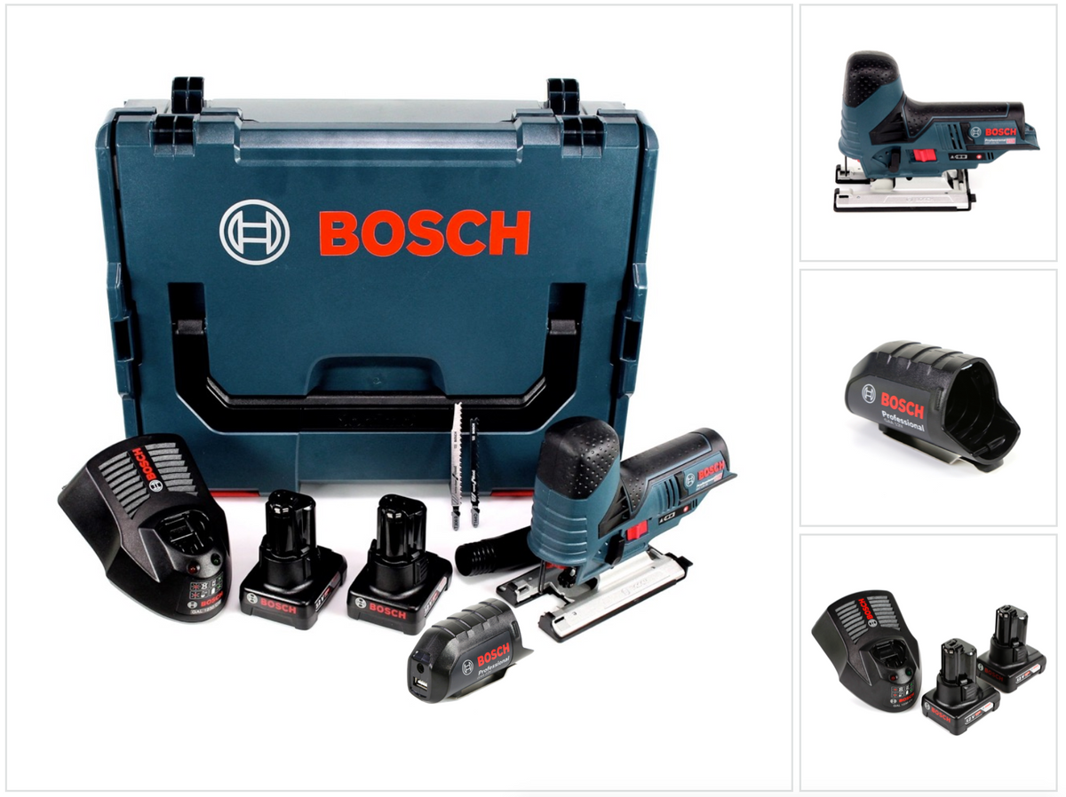 bosch gst 12v 70 professional stichs ge 2 x 4 0 ah akku lader usb adapter ebay. Black Bedroom Furniture Sets. Home Design Ideas