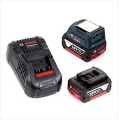 Bosch USB Power Set 18 V mit GAA Professional USB Adapter für 14,4 V / 18 V Akkus + 2x GBA 18V 3,0 Ah Li-Ion Einschub Akku + 1x Schnell Ladegerät GAL 1880 CV