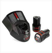 Bosch Basis Set 12 V mit 2x GBA 12 V 2,0 Ah Akku und GAL 1230 CV 12 V Schnell Ladegerät
