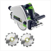 Festool TS 55 RQ-PLUS Scie plongeante 1050 Watt ( 561579 ) + Coffret de transport + 2x Lame de scie Panther HW 160x2,2x20 PW12 160 mm 12 dents( 496301 )