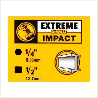 """DeWalt DT 7508 Extreme Impact Schlagschrauber Adapter 1/2"""" - Außenvierkant Aufnahme auf 1/4"""" - Innensechskant Aufnahme  – Bild 4"""