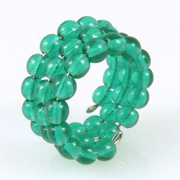 Damenring aus Glasperlen 50-54mm türkisgrün Perlenring -079 – Bild 1