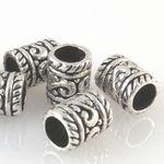 7 Metallperlen Perlen 9mm Spacer Großlochperlen altsilber Metall Bastelperlen