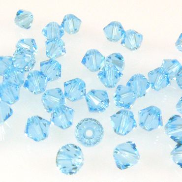 10x SWAROVSKI ELEMENTS 5328 Bicone 4mm aquamarine Perlen hellblau -1481