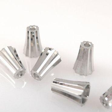 6 Perlenkappen Endkappen Perlkappen silbern Kappen 9mm Metallperlen -1150