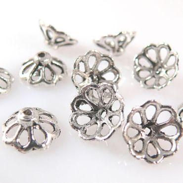 10 Perlenkappen Endkappen Perlkappen silber Kappen für Perlen 15mm-1081