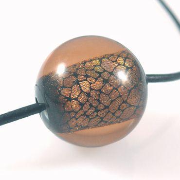 Kunststoffperle braun mit Silberfolie Kugel 2,4cm Acrylperlen große Perlen -371