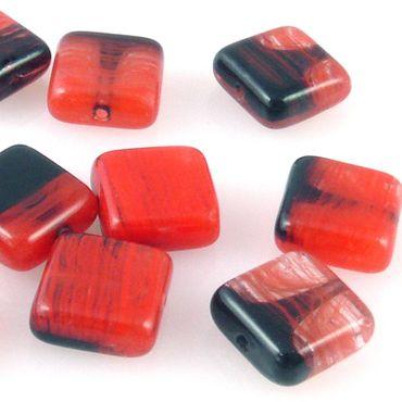 10 edle Glasperlen Quadrat Kissen 10mm Perlen rot schwarz gemasert Schmucksteine – Bild 1