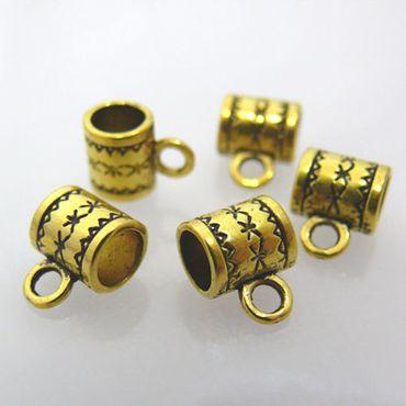 Metallperlen 5 Zwischenperlen goldfarben 8x7 mm -594