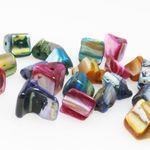 20 farbige Perlmutt Perlen Mix Muschelperlen 7x8mm bunt Bastelmischung -434