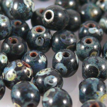 100 edle Glasperlen Kugeln Perlen 4mm schwarz marmoriert Bastelperlen -628 – Bild 2