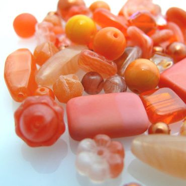 60 Glasperlen Mix Perlenmix orange Glas Perlen basteln -376
