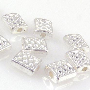10x Metallperlen Rechtecke 7mm Spacer Perlen versilbert Schmuck basteln -1443 – Bild 1