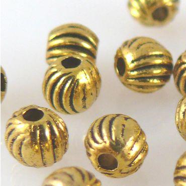 20 Metallperlen Kugeln 4mm Metall Perlen altgold Metallkugeln Bastelperlen gold – Bild 1