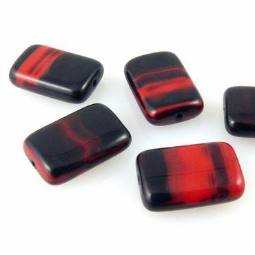 5 edle böhmische Perlen 16x11mm Glasperlen Rechtecke rot schwarz Bastelperlen